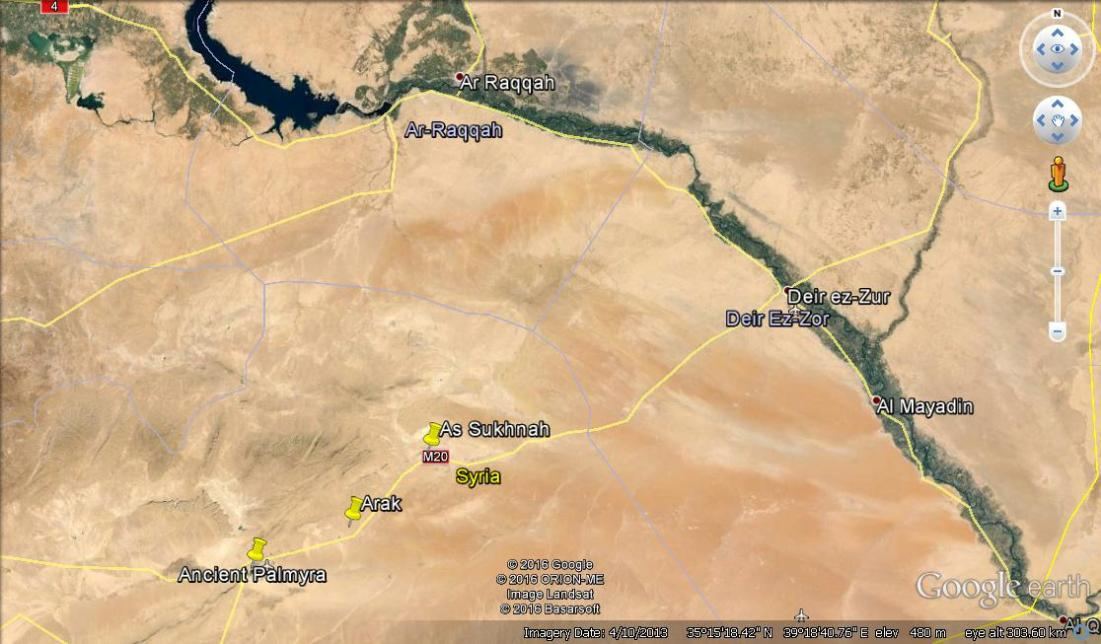 This image shows the relationship between Palmyra, Der ez Zour and Raqqa in Syria's east.