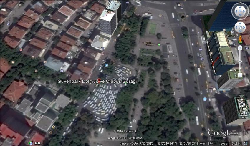 Google earth image of the Guven park bus station area, targeted in the latest blast.