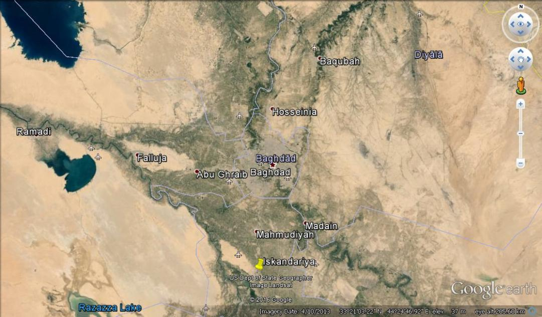Iskanderiya marked on a map of Iraq.