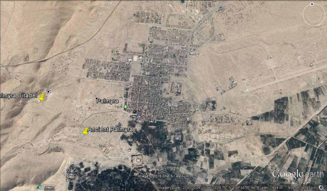 Map shows the Citadel in relation to Tadmur and Palmyra beneath.
