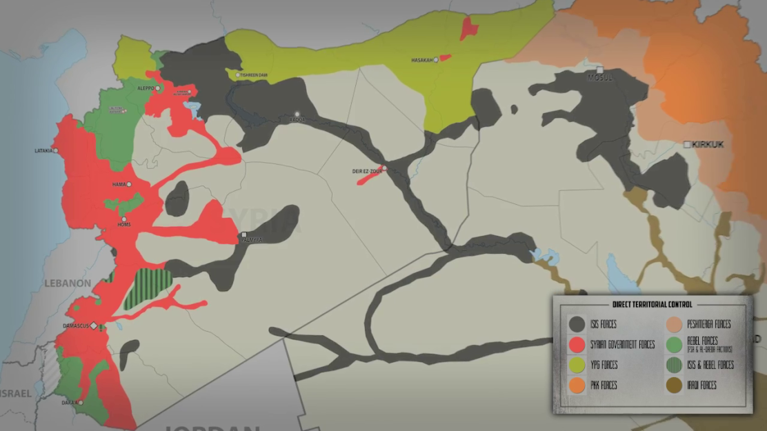 A South Frnt still shows the areas of control in Syria as of March 14th, 2016.