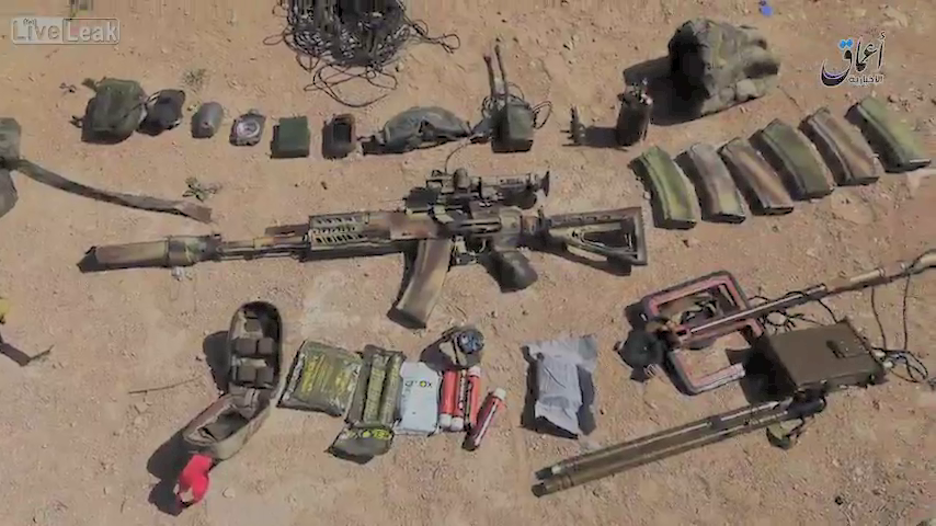 This still shows some of the equipment ISIS fighters looted from a Russian Special Forces member they killed near Palmyra.