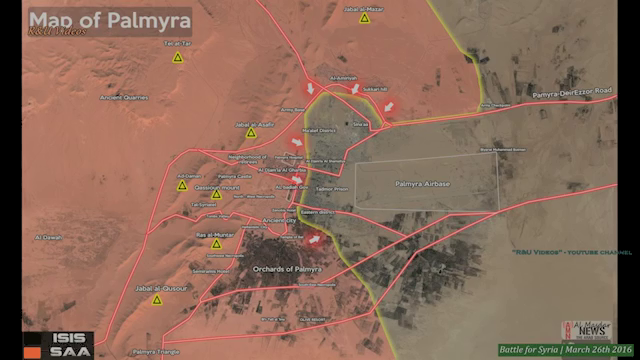 Mao shows the trajectory of the Syrian Army operation to liberate Palmyrawith the ISIS forces in the town being attacked from three sides.