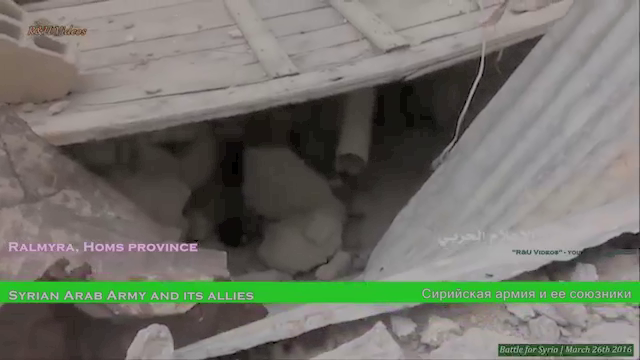 How do the ISIS fighters survive against the Russian Airforce in the middle of the desert?They remain underground wherever possible and this appears to be the remains of an underground fighting position in Palmyra.