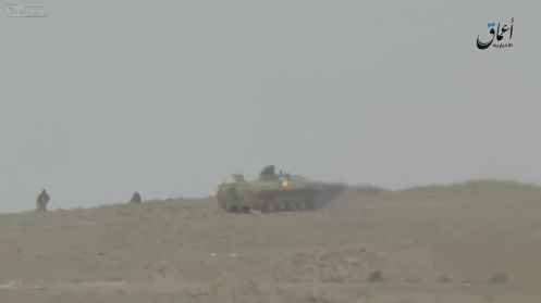 Still from an ISIS video shot on March 27th, the destruction of a Syrian Army tank with a rocket in the vicinity of Palmyra. (Source)
