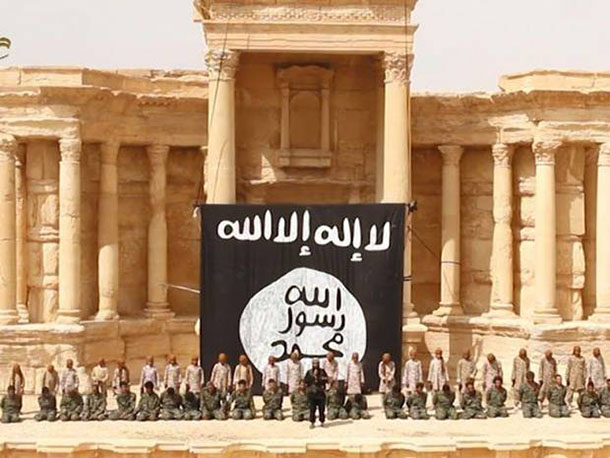 ISIS in the Palmyra amphitheater about to stage a mass execution.