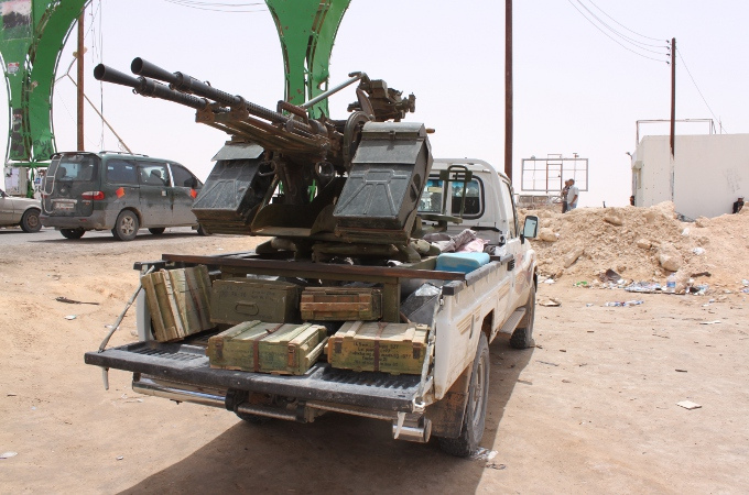 A typical ZPU anti-aircraft heavy machine gun with the KPV heavy machine guns mounted on the back of a vehicle. The4se come in two and four gun varieties, this is a two gun example.