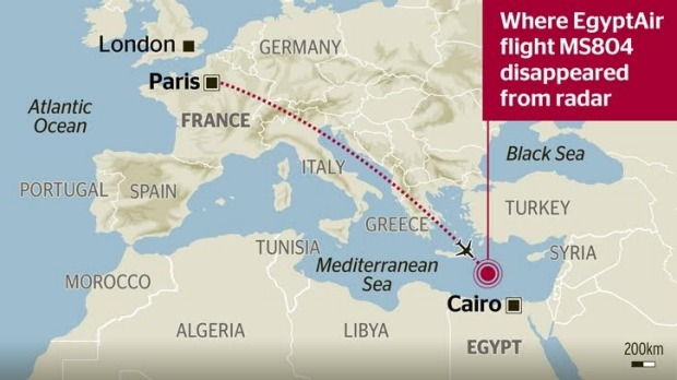 Graphic shows the flight path of the missing Egypt Air jet.