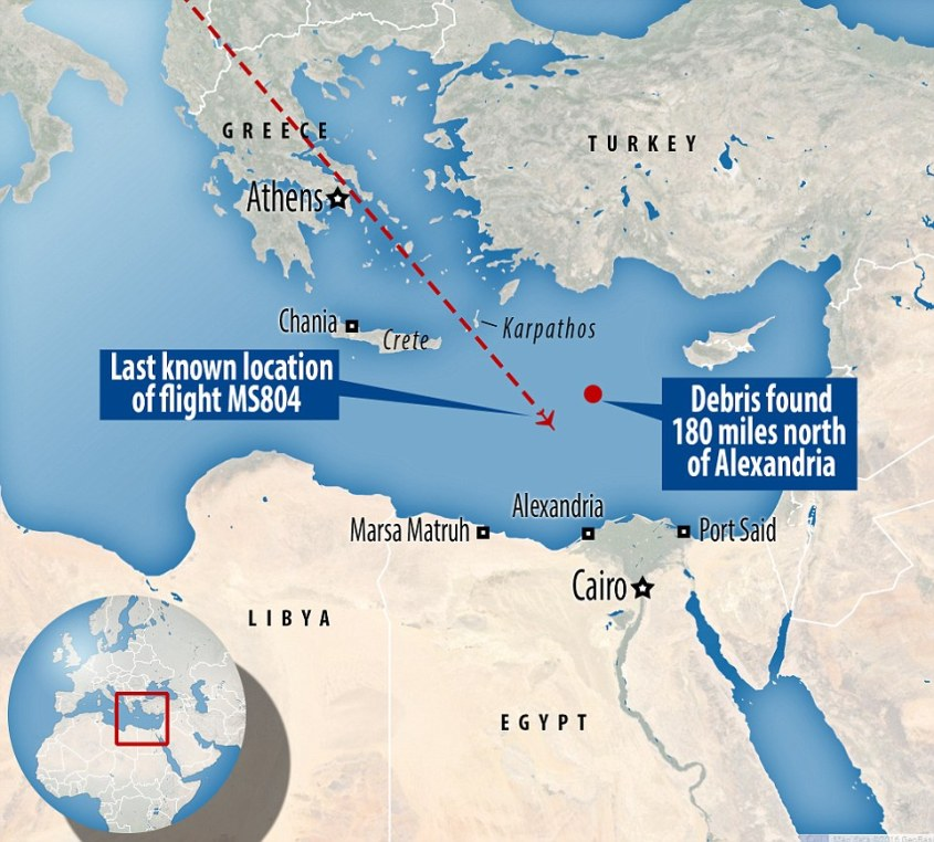 Mail online graphic shows the approximate site that debris from Flight 804 has been found.