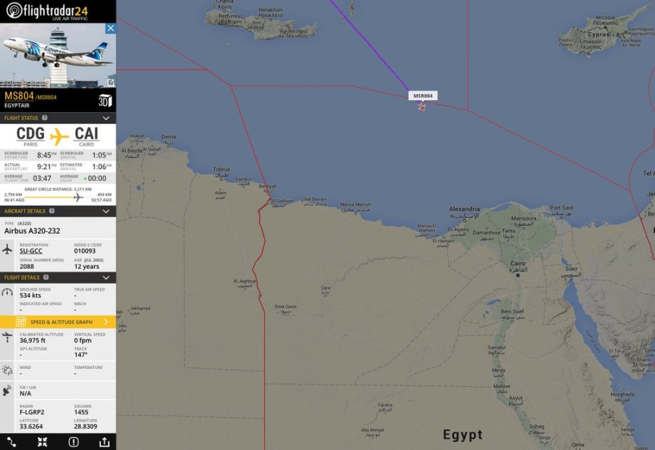 Image from Flight Radar 24 purpots to show the spot where the Egytp Air flight stopped transmitting it's position, according to them the plane had just crossed into Egyptian Airspace when this occurred. (Red line delineates this boundary.)