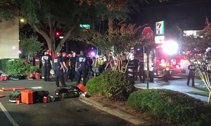 "The scene in Orlando following the nightclub ""massacre"" in the early hours iof Jube 12th, 2016."