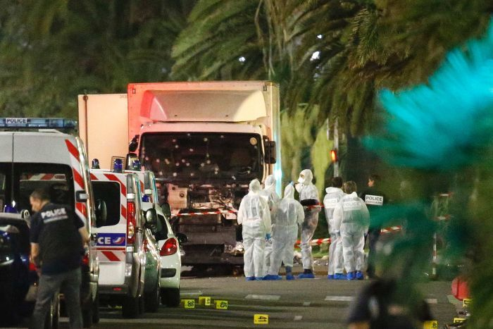The truck claimed to have been used in the Nice attack is seen with bullet holes peppering the windscreen.