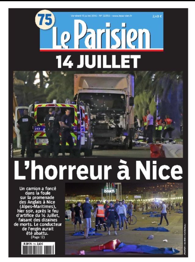 The front page of the Parisian newspaper responds to the latest attack.