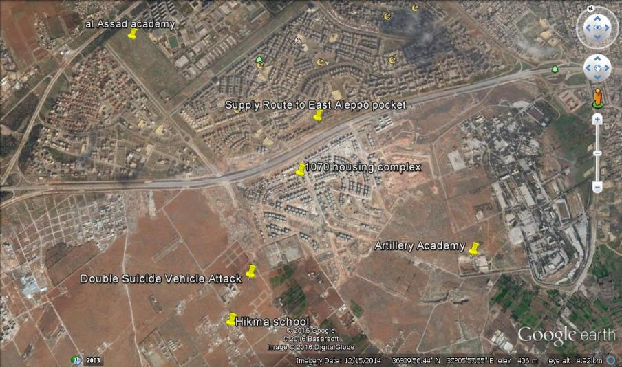 Google earth image with labelks attached to the key sites of the outer insurgent offensive.