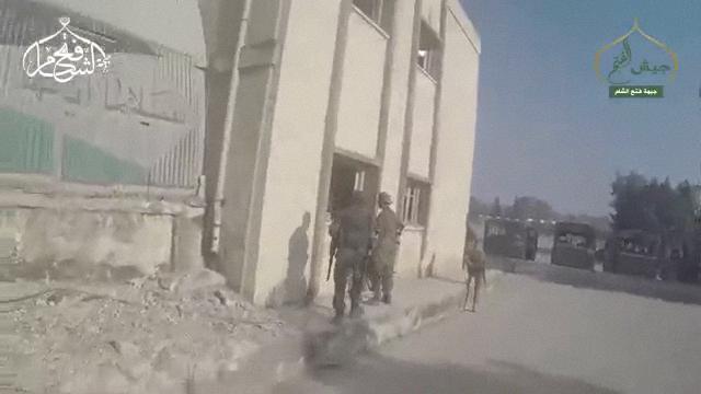 Jaish al Fatah insurgents encounter almost no opposition as they enter the Aleppo Artillery Academy.