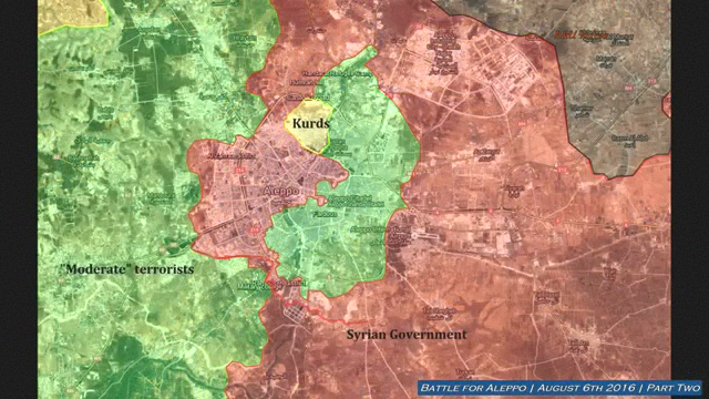 Before and after maps show where the insugrents broke through the Syrian positions form both inside and outside the Aleppo pocket.