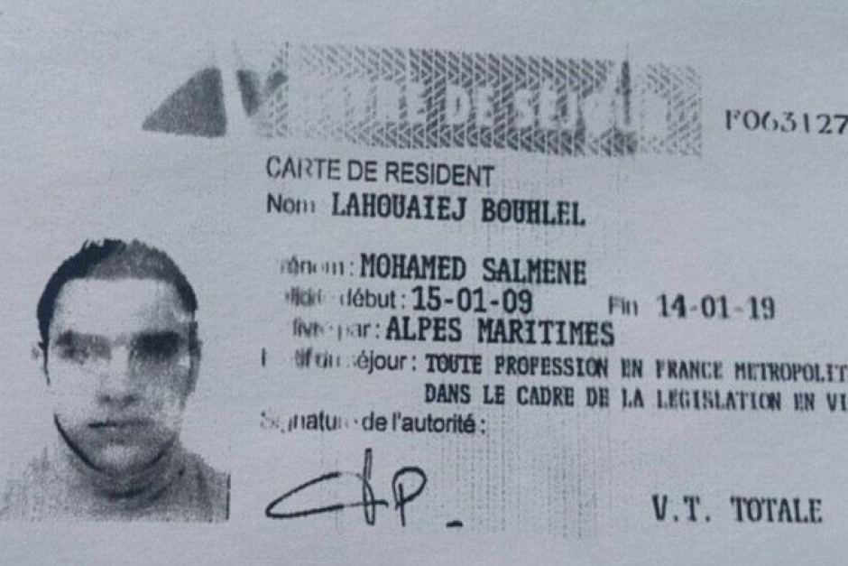 This is Mohamed Bouhlel's Temproary French residency identification, helpfully left in the cab of the truck as has been the custom when framing patsies thriguhout the war on error, from 911, to Charlie Hebdo, Friday the 13th and may others.
