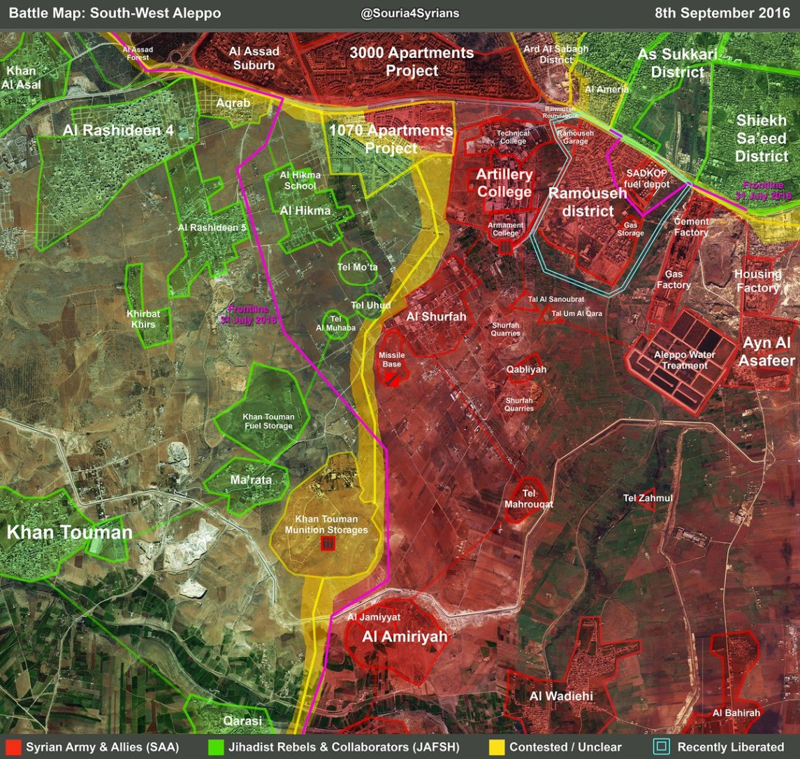 Map shows the re-encirclement of east Aleppo with the SAA seizure of the entire Ramouseh district. , the Ramouseh-Khan Touman road was never really functional as a supply line as it fell within the range of the Syrian artillery. Now it is physically cut.