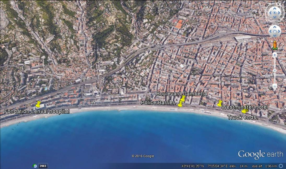 An overview of the area the attack is said to have taken place with key landmarks marked. An overview of the Promenade des Anglais with key landmarks marked.