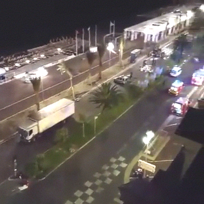 Overview if the scene in Nice in the direct aftermath of the event.