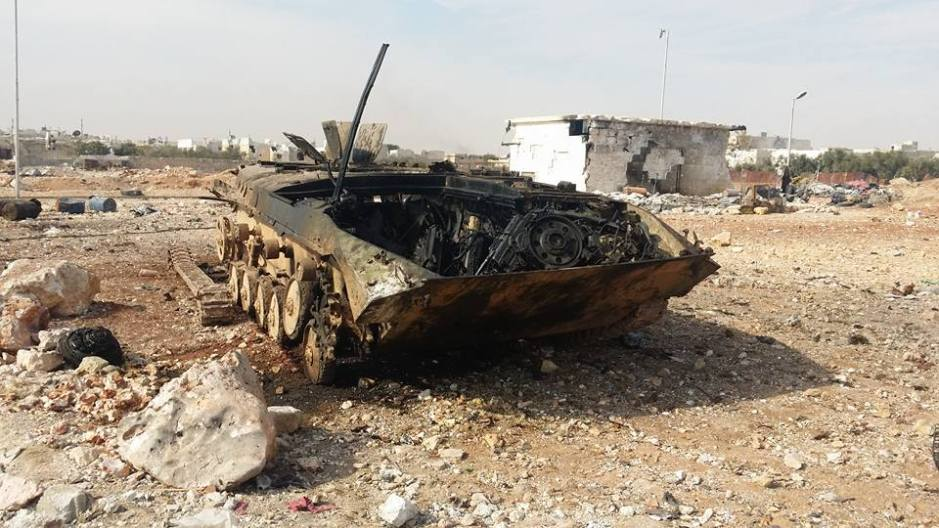 Destroyed insurgent APC in Minyan, West Aleppo following the failed insurgent offensive.