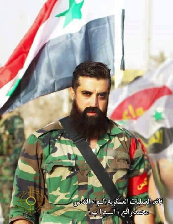 The commander of the Syrian Palestinian loyalist militia Liwa al Quds, a falen hero in the operation to liberate Aleppo this week.