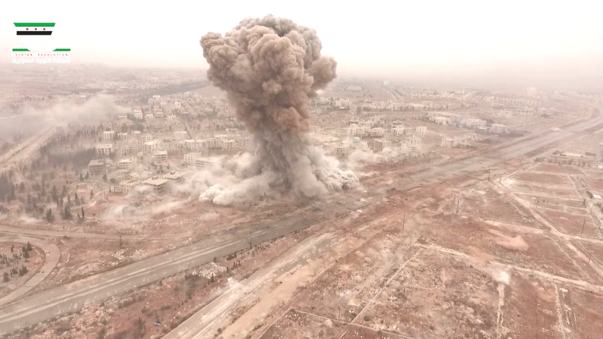 Drone view of massive insurgent car bomb at the start of the failed late October offensive on West Aleppo city.