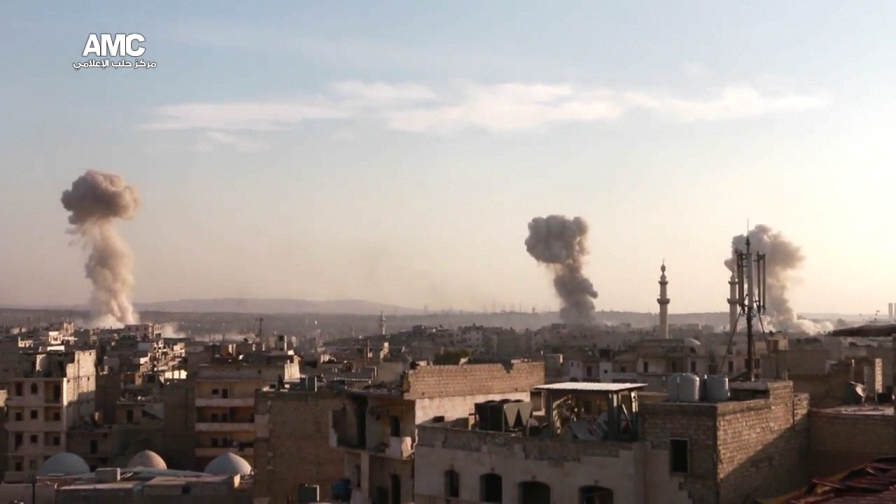 Multiple airstirkes hit the insurgent held east Aleppo pocket, November 2016.