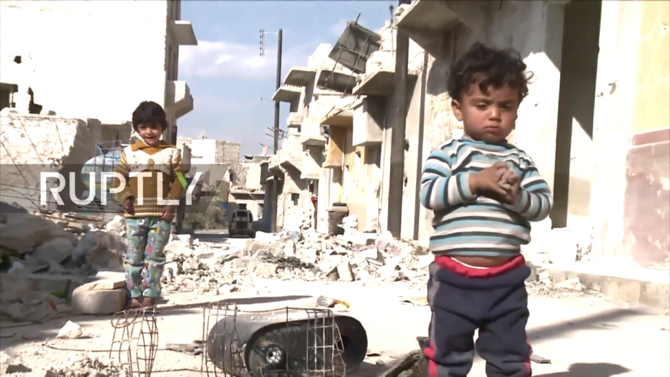 Children at play in West Aleppo.