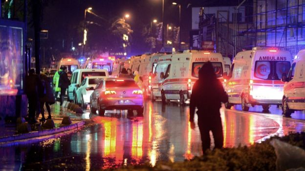 Ambulances congregate in the streets of Ozakay following the Reina nightclub massacre.